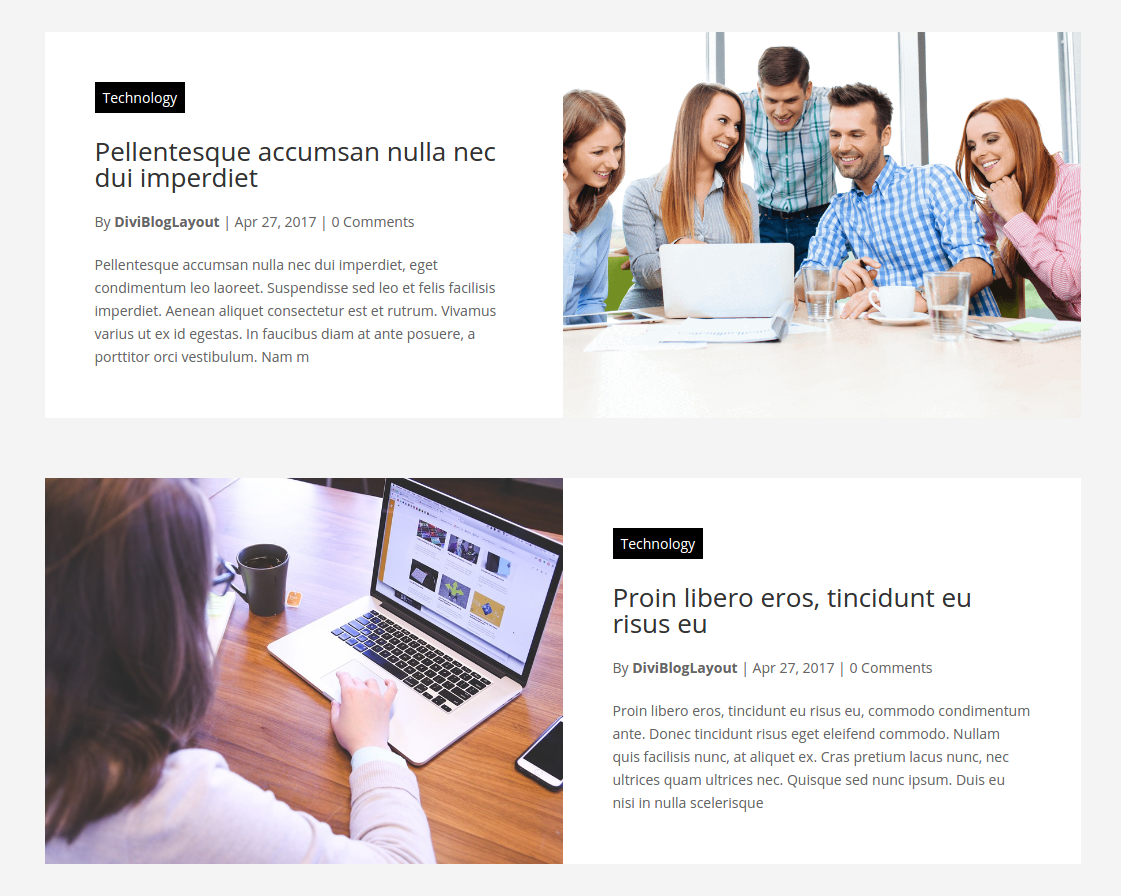Divi Category Layout for Web Development Company Blog