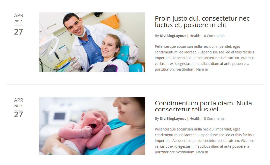 Divi Category Layout for Medical and Health Blog
